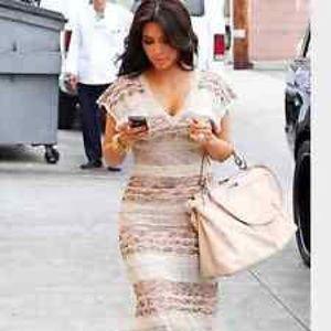 Bebe wave stitch crochet maxi dress seen on Kim K